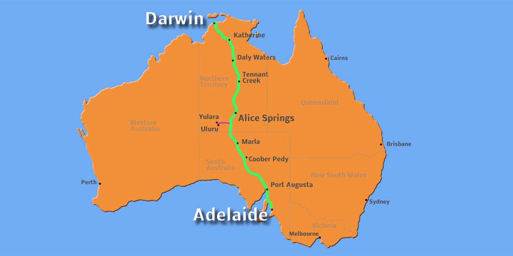 Übersichtskarte Route Adelaide Darwin