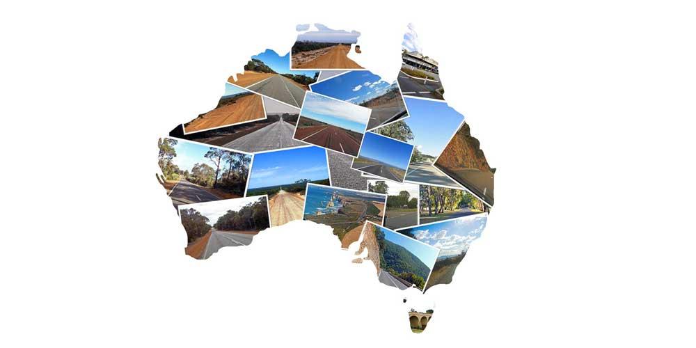 Australien-Collage Landstraßen