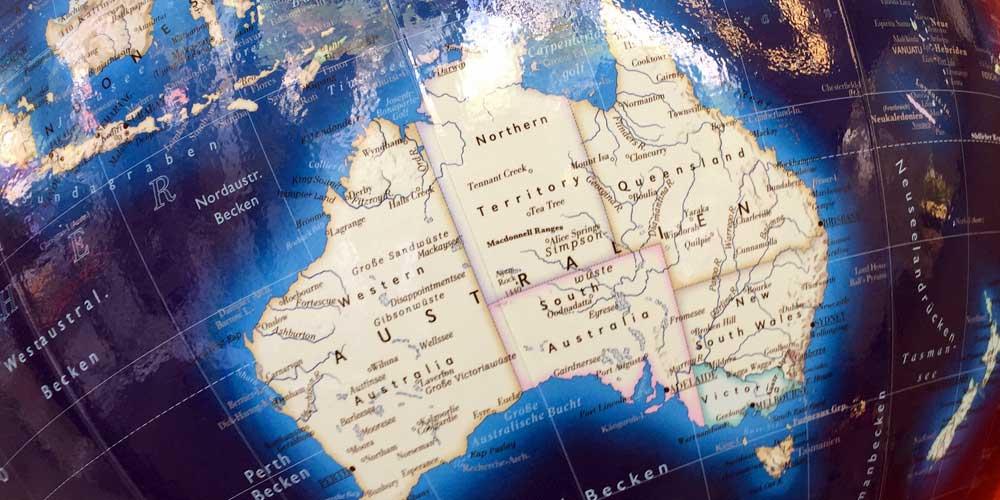 Australien auf einem Globus