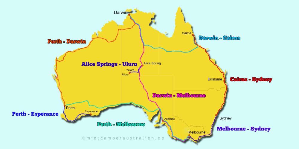 Karte mit den beliebtesten Routen in Australien