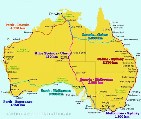 Die 8 beliebtesten Camper Routen in Australien