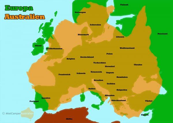 Australien Europa Grössenvergleich
