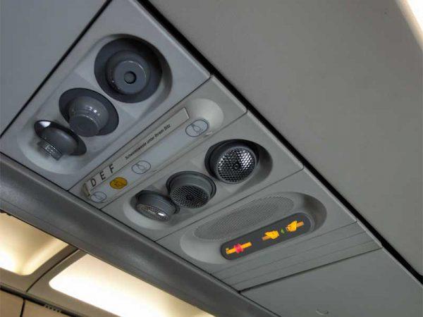 Frischluftdüsen im Flugzeug