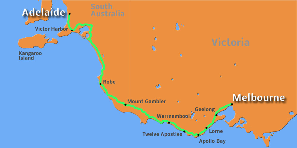 Route Melbourne - Adelaide