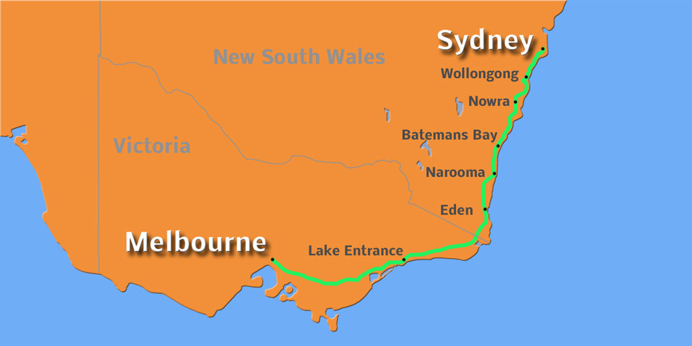Küstenroute Sydney Melbourne