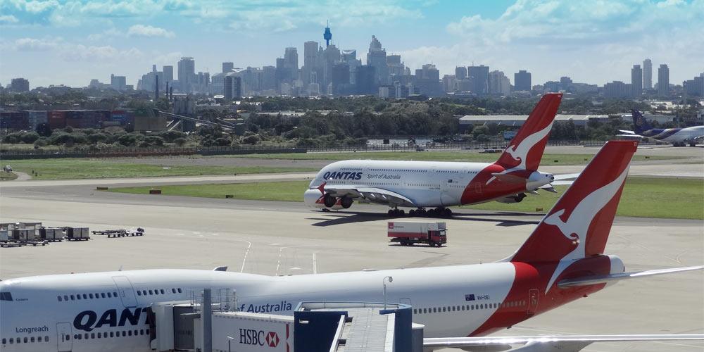 Qantas Flugzeuge auf dem Flughafen von Sydney