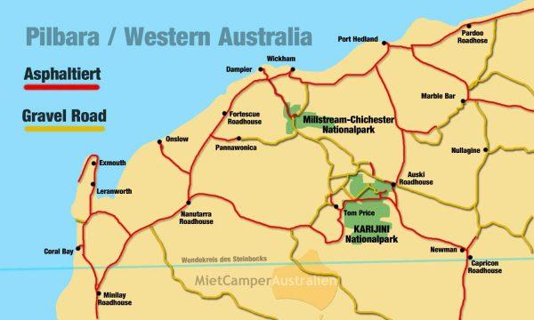 Asphaltierte Straßen und Gravel Roads in Westaustralien
