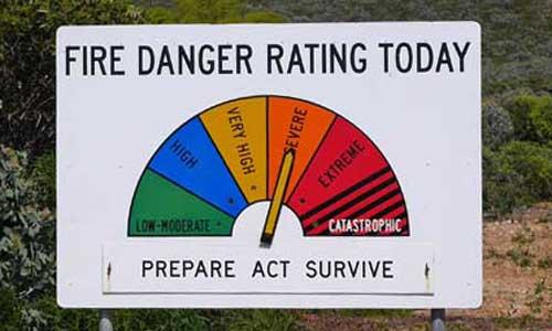 Hinweisschild Feuergefahr an einer Landstraßen in Australien