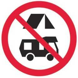 Hinweisschild: Kein Camping gestattet