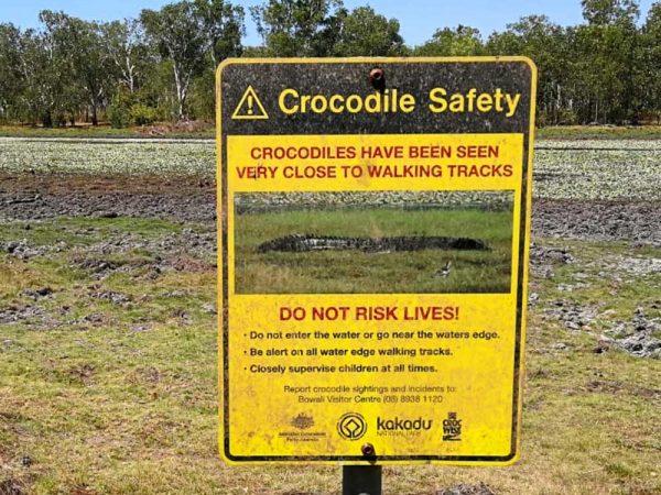 Australien: Warnhinweis vor Krokodilen im Kakadu Nationalpark