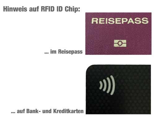 Zeichen auf Ausweis, Kredit- & Bankkarten mit RFID Chip