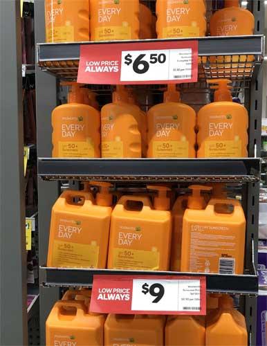 Sonnencreme Angebote im australischen Supermarkt