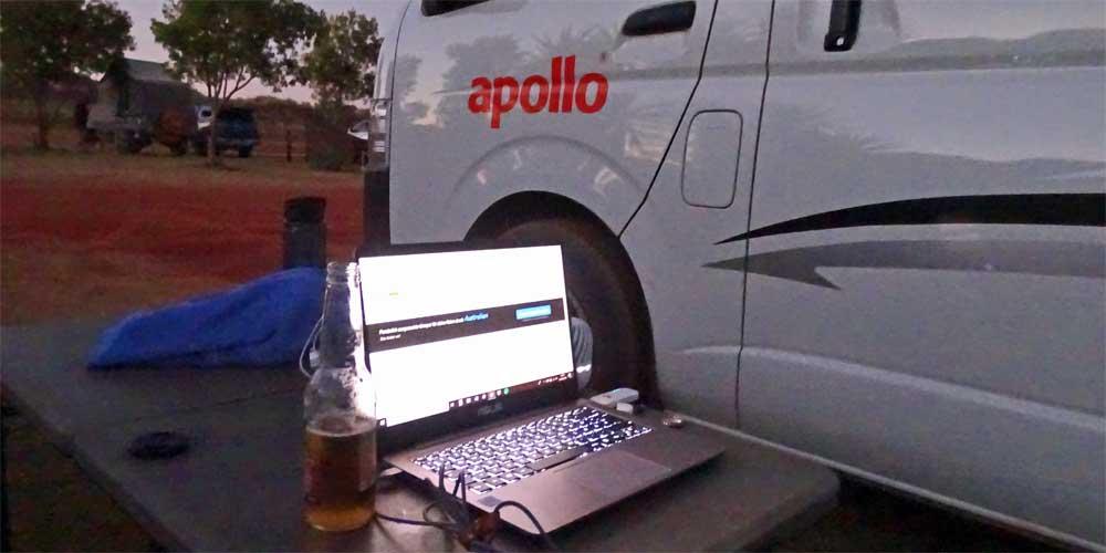 Beim Camping im Internet in Australien