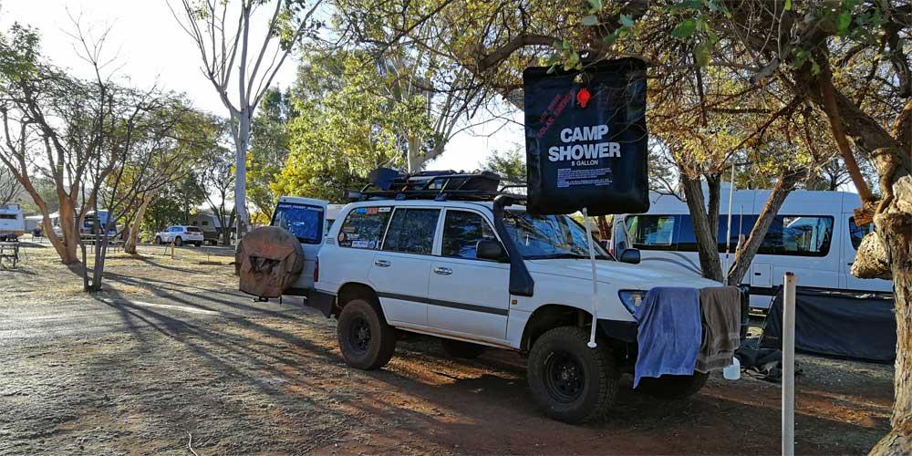 Outdoor Solar Dusche auf dem Campingplatz