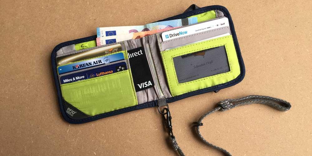 Geldbörse von Pacsafe mit RFID Schutz